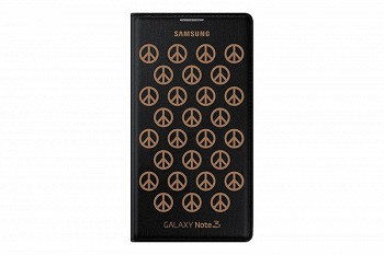 SAMSUNG GALAXY NOTE 3 FLIP COVER MOSCHINO PEACE BLACK GOLD