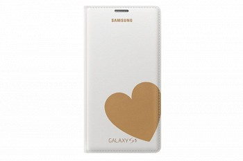 SAMSUNG GALAXY S5 FLIP COVER MOSCHINO HEART WHITE GOLD (EF-WG900RFEGRU)