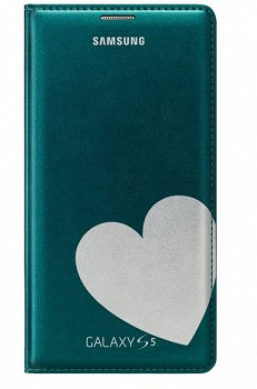 SAMSUNG GALAXY S5 FLIP COVER MOSCHINO HEART GREEN SILVER