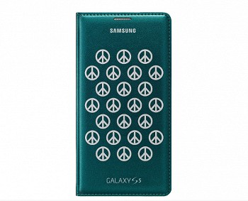 SAMSUNG GALAXY S5 FLIP COVER MOSCHINO PEACE GREEN SILVER
