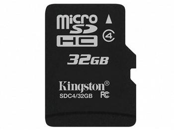 KINGSTON MICROSDHC 32 GB CLASS 4 + SD ADAPTER